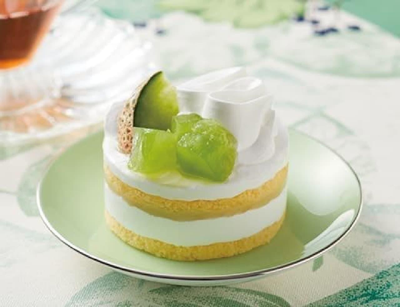 ローソン「メロンのショートケーキ(茨城県産メロントッピング)」