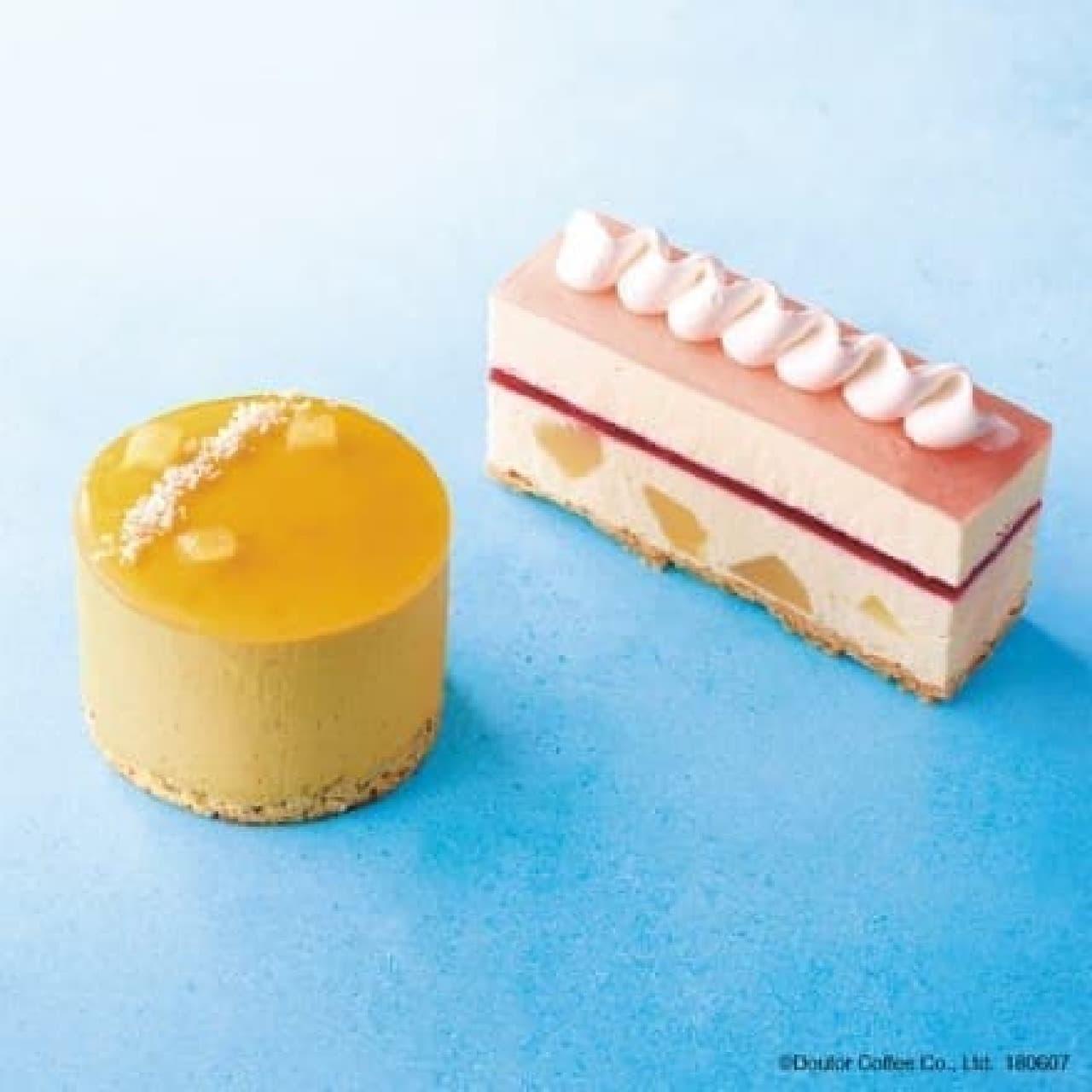 エクセルシオール カフェ「マンゴームース~アールグレイの香り~」「白桃のレアチーズケーキ」