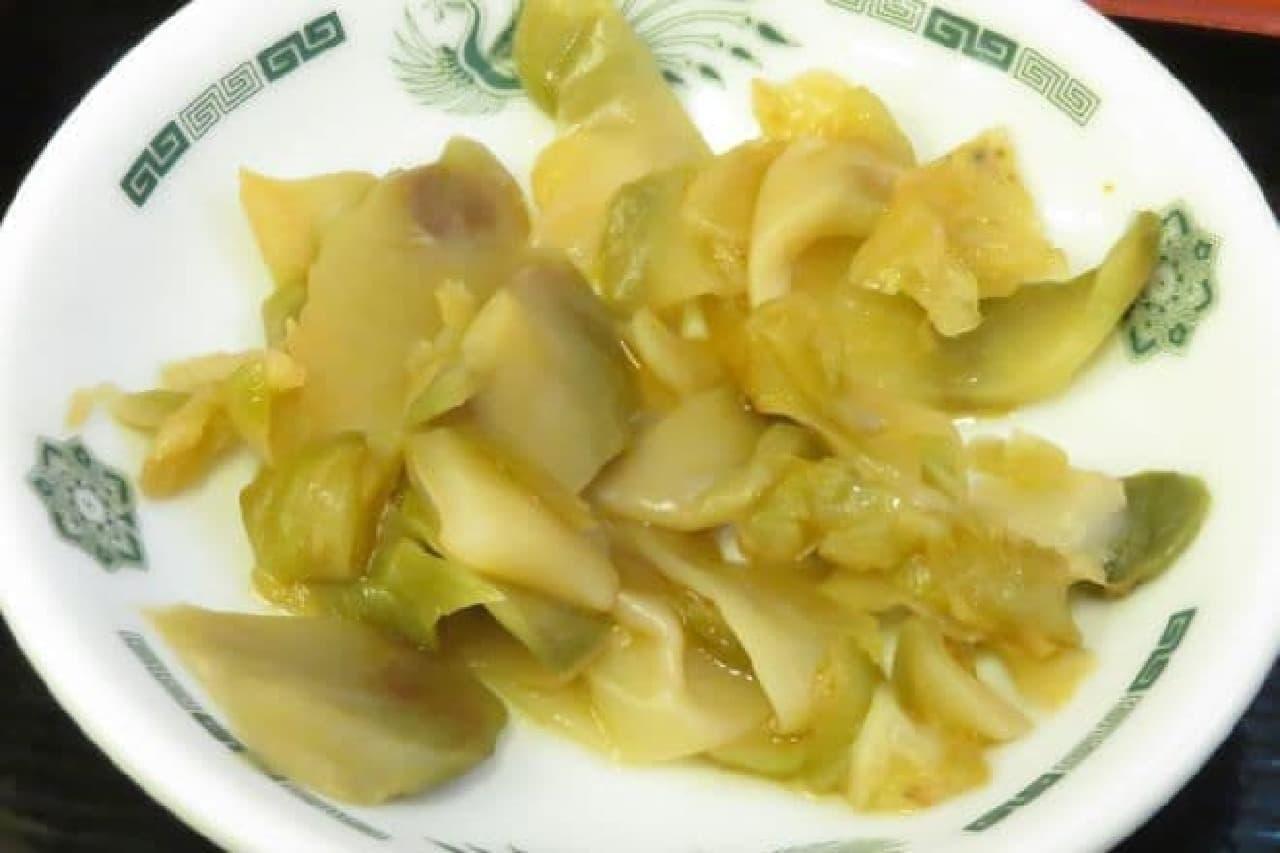 日高屋「バクダン炒め定食」の漬物