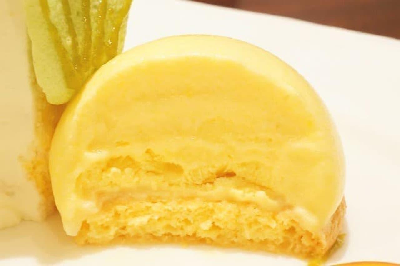 珈琲茶館 集の「パッションフルーツとパイナップルのシフォンケーキ」