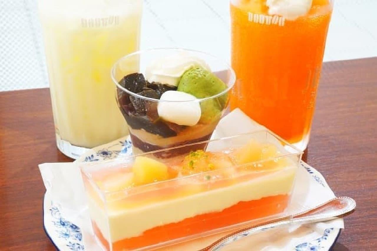 ドトールコーヒー「北海道産メロンフローズン」「ほうじ茶のパルフェ」「沖縄県産パインヨーグルト」「ピーチ ア・ラ・モード」