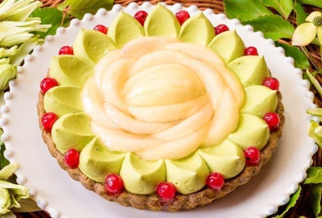 キル フェ ボン「桃と抹茶のタルト」