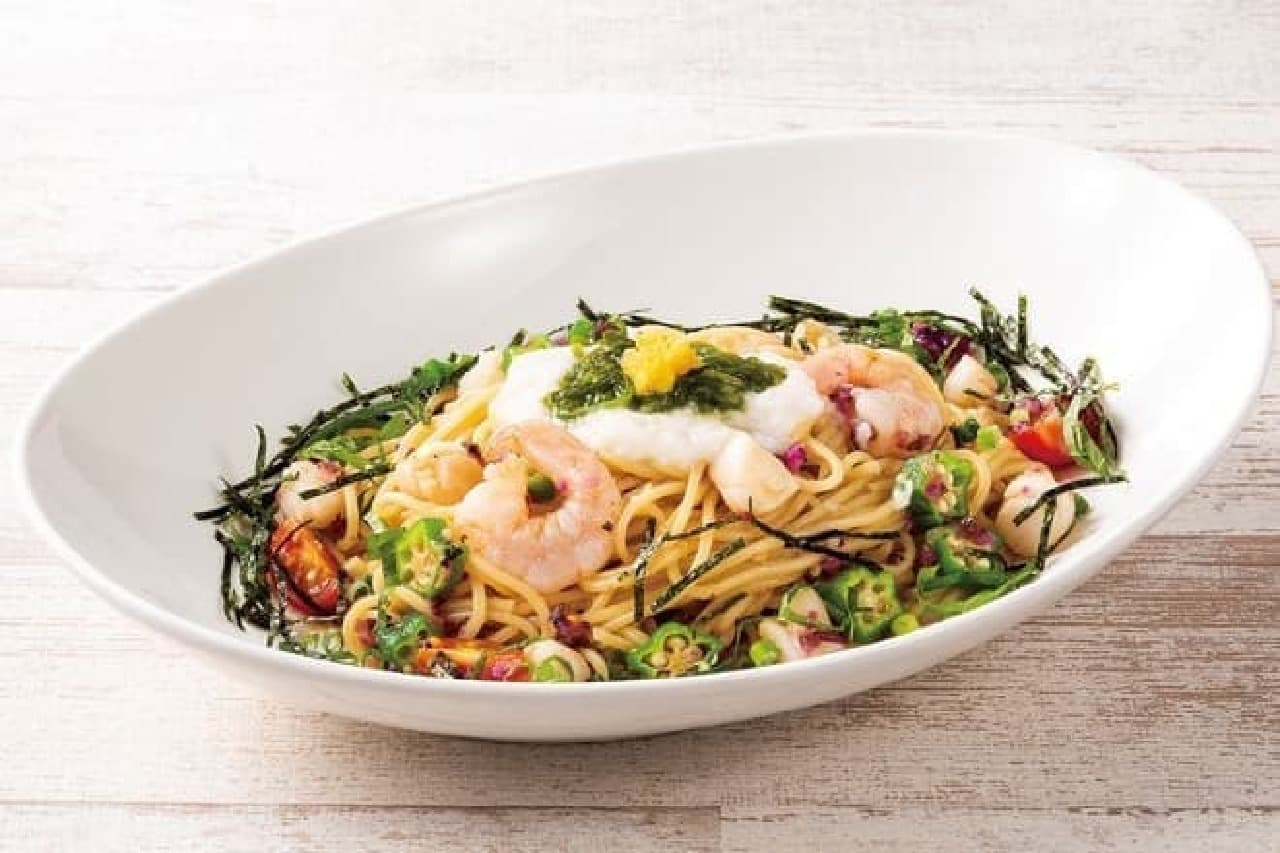 オリーブハウスの「海老と貝柱の冷製ねばとろスパゲティ」