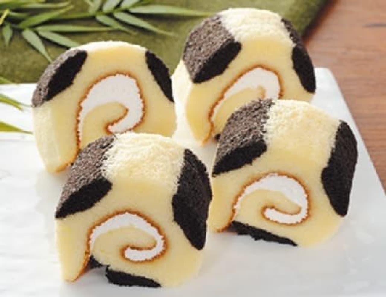 ローソン「ぼくとわたしのロールケーキ4個入パンダ」