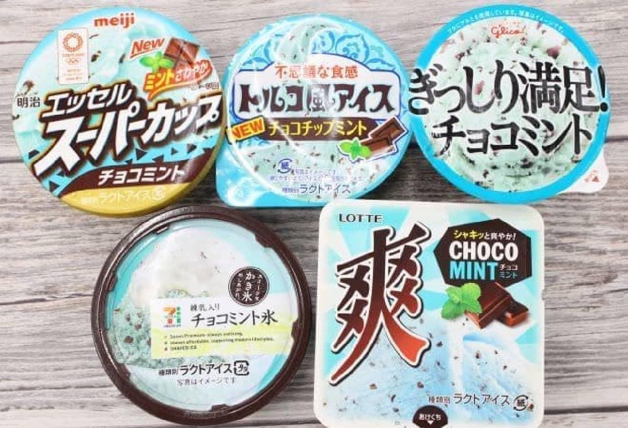 コンビニで販売されているカップ入りチョコミントアイス