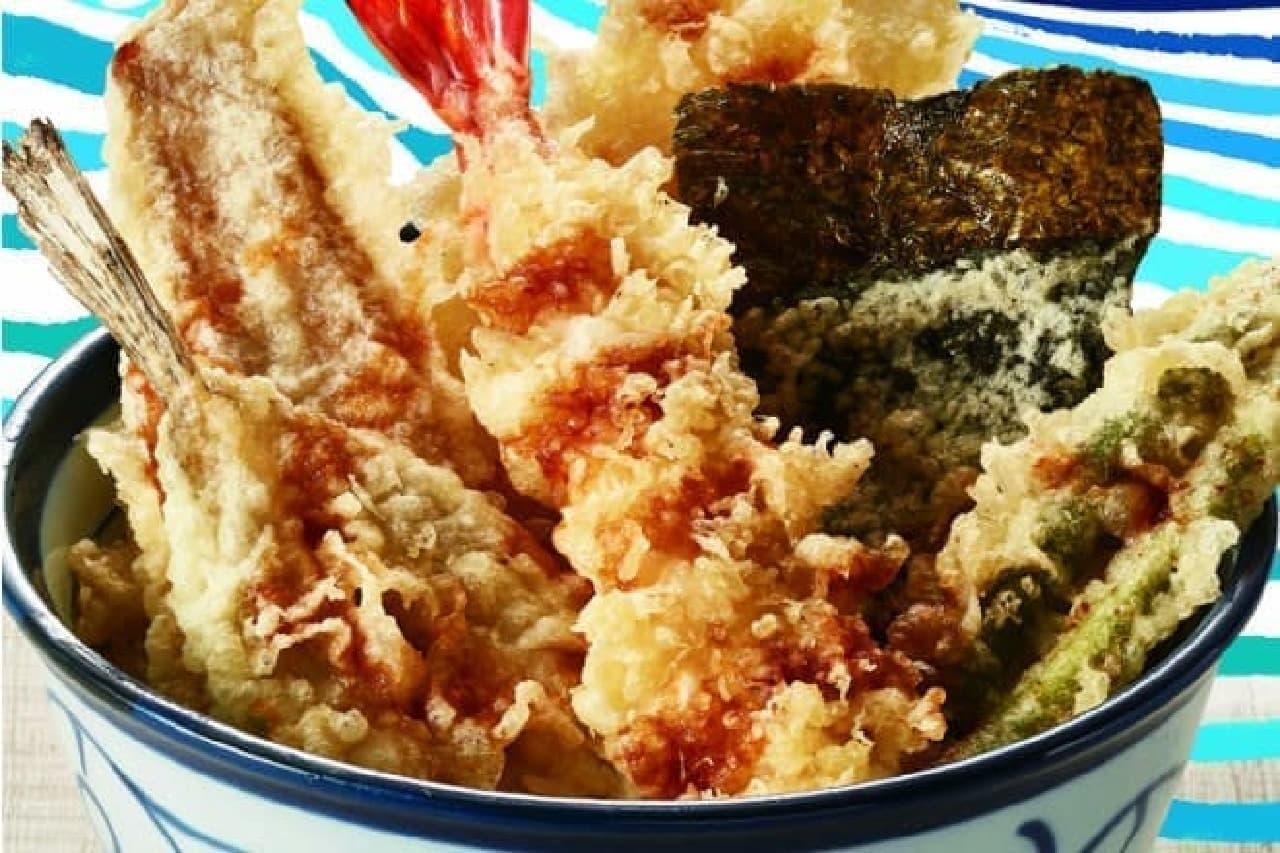 てんやの「煮穴子・めごちの海鮮天丼」