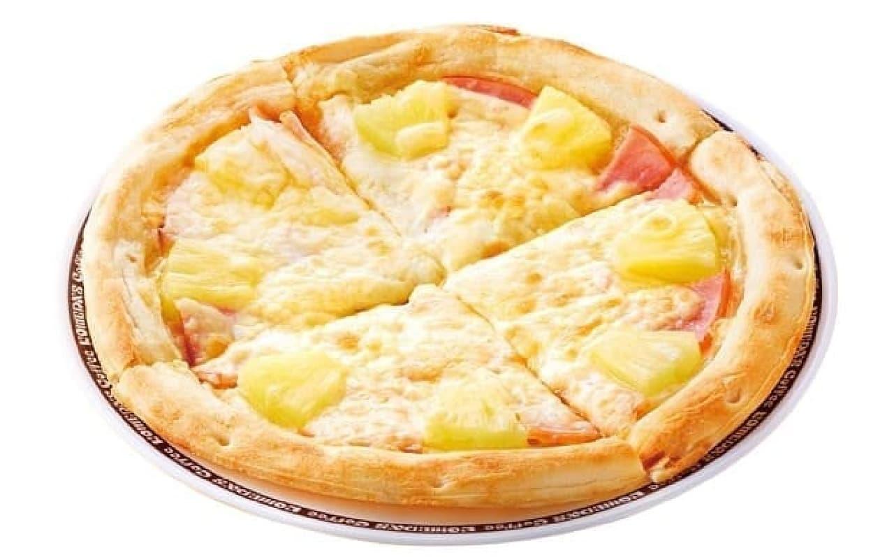 コメダ珈琲店 沖縄糸満店の特製ピザ「ハワイアン」
