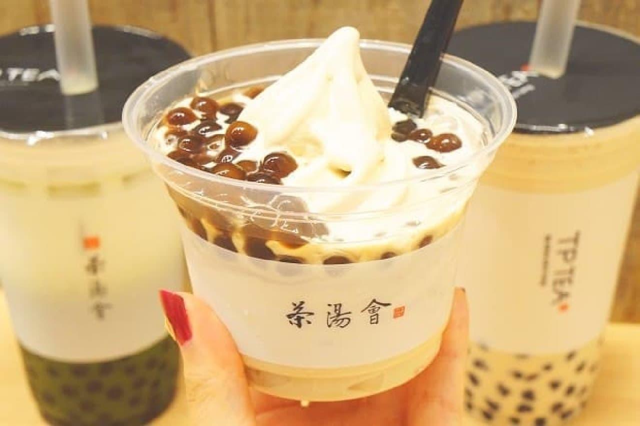 TP TEAのドリンクとソフトクリーム