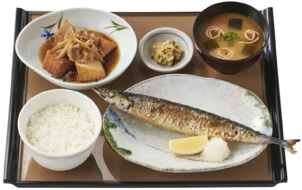 やよい軒「さんまの塩焼と肉豆腐の定食」