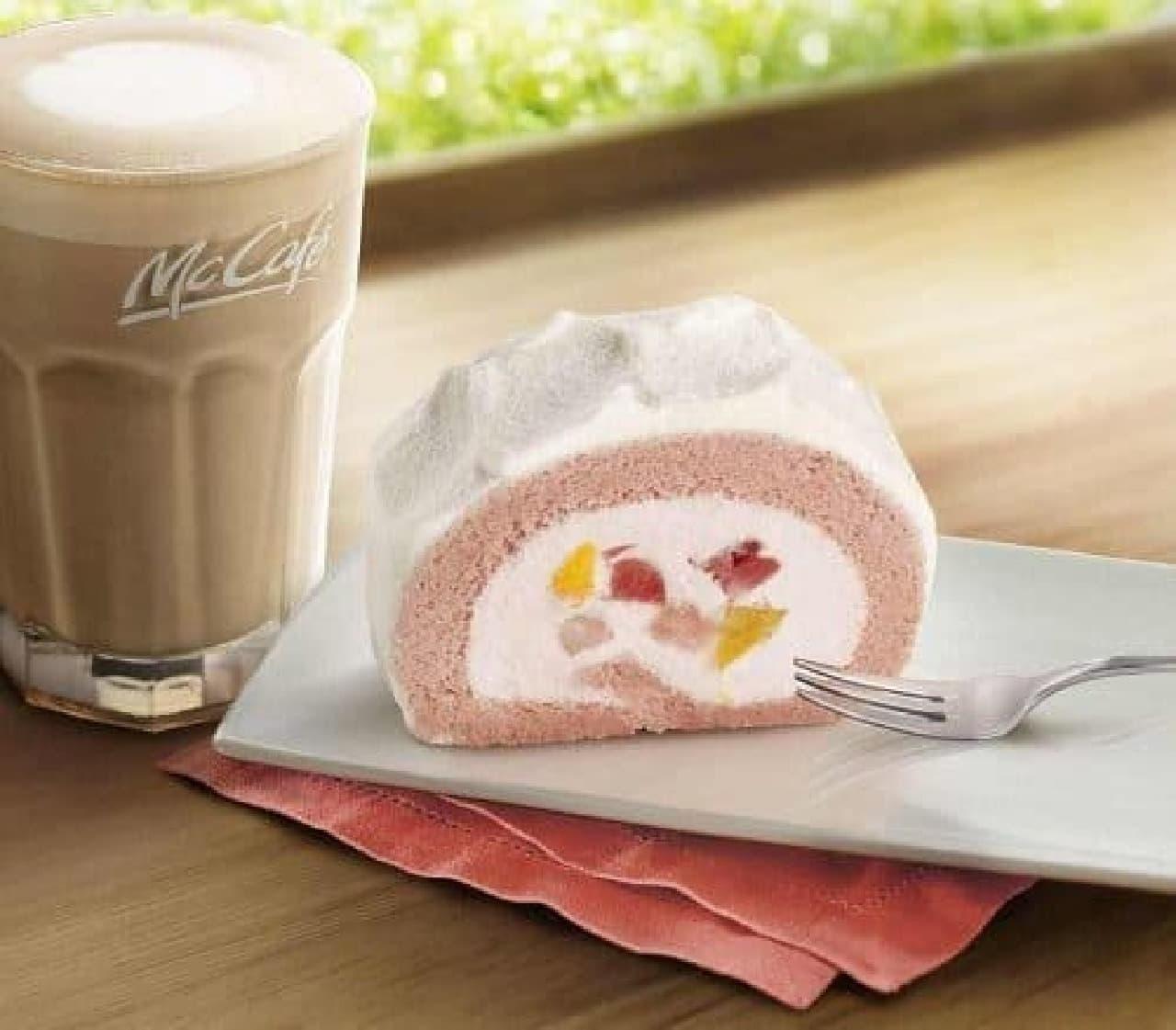 マックカフェ バイ バリスタ「いちご&もも贅沢ロールケーキ」