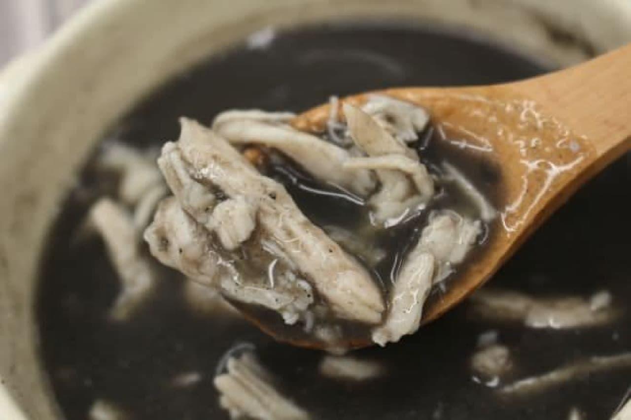 セブン限定「サラダチキンで作る黒ゴマ参鶏湯」