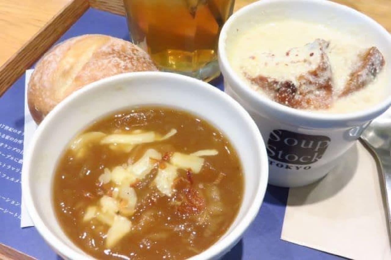 """スープストック「フェルメールの""""牛乳を注ぐ女""""のスープ」と「ゴッホの玉葱のスープ」"""