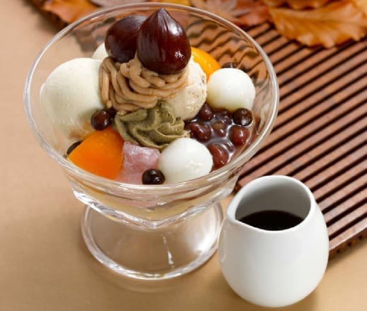 ロイヤルホストの「季節のクリームあんみつ ~渋皮栗とほうじ茶~」