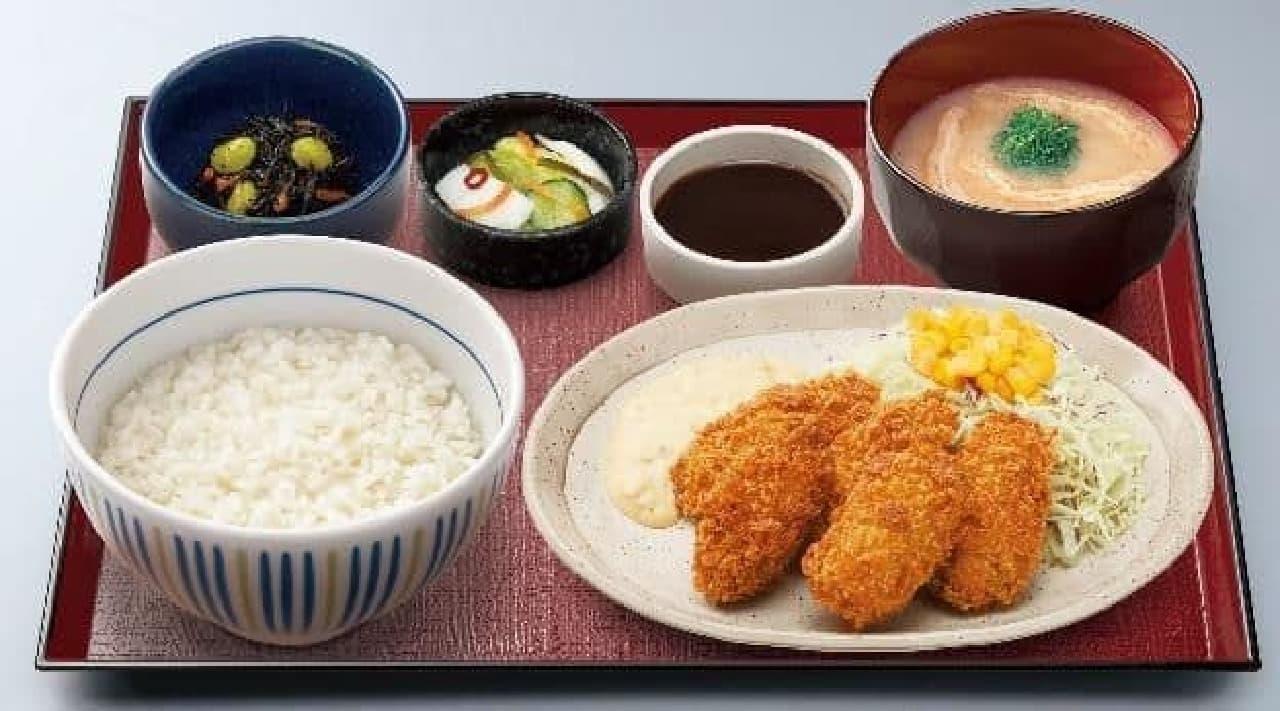 なか卯「カキフライ定食」