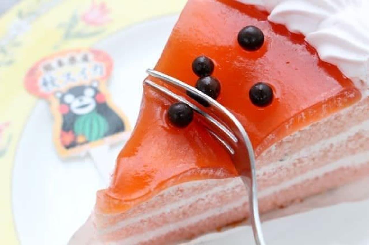 不二家「熊本県産秋スイカソースのショートケーキ」