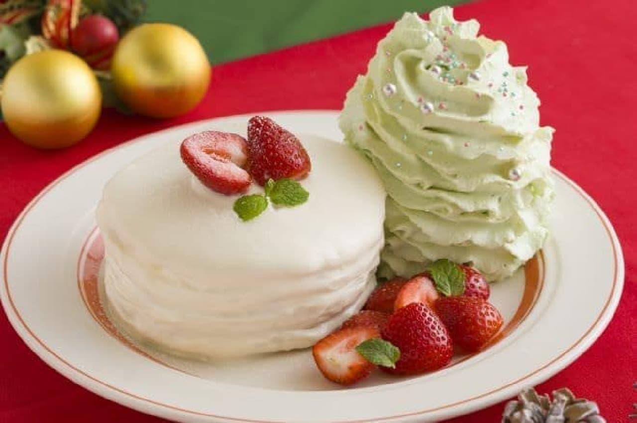 エッグスンシングス「クリスマスホイップツリーパンケーキ」