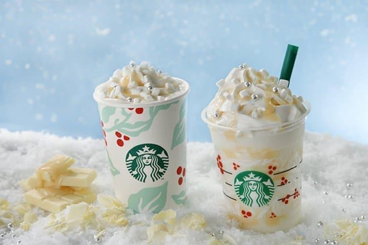 スターバックス「ホワイト チョコレート スノー フラペチーノ」と「ホワイト チョコレート スノー」