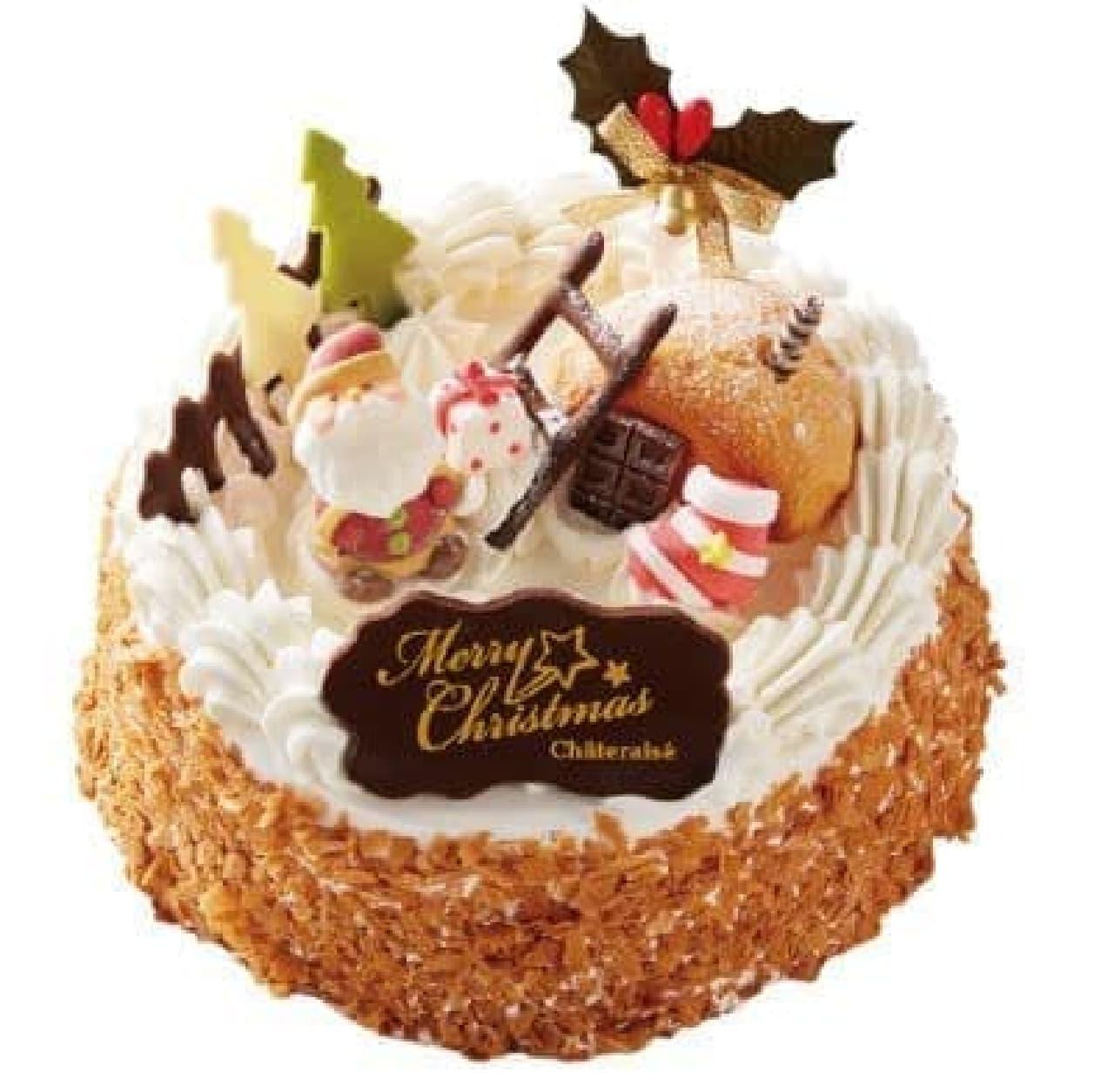 シャトレーゼ「Xmasアイスデコレーション キャラメルバニラ&チョコクッキー17cm」