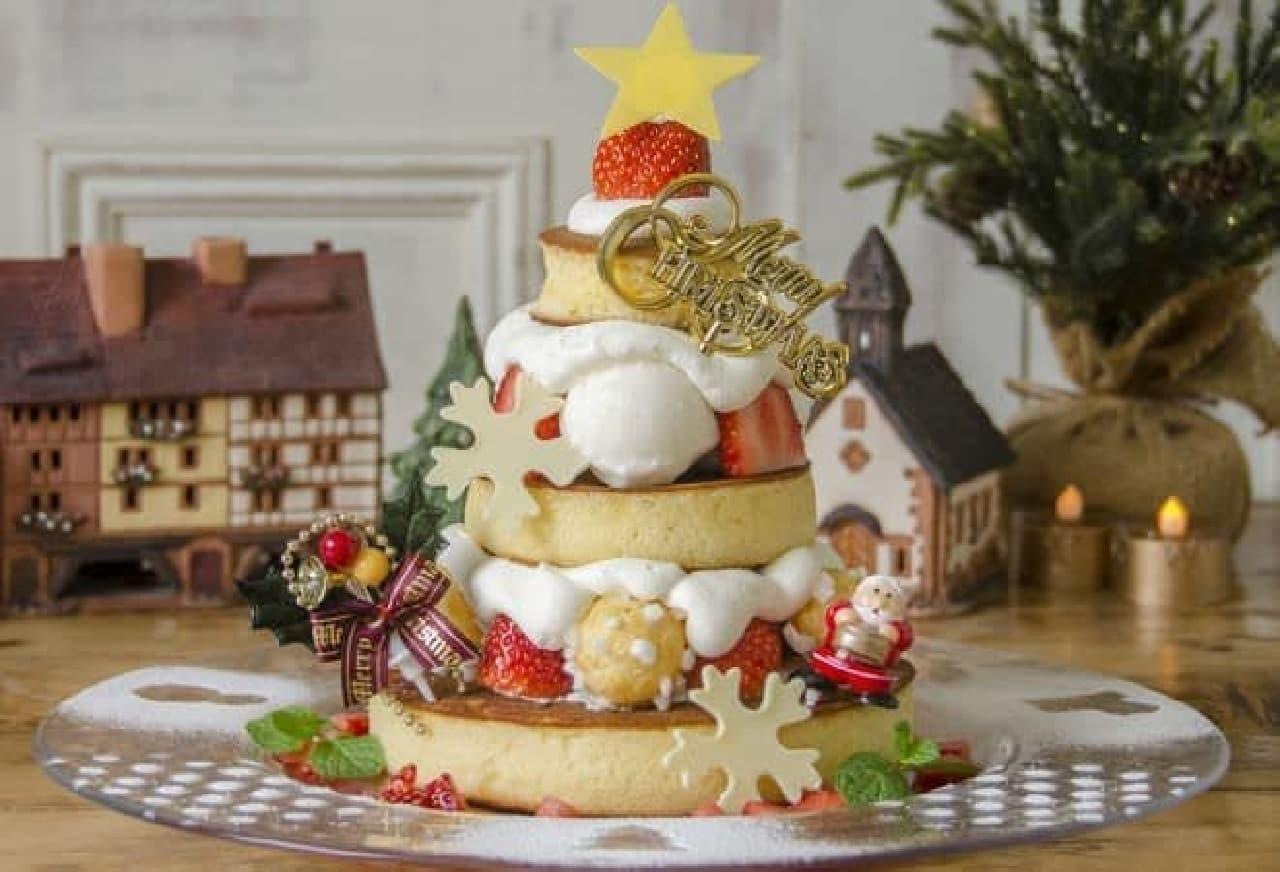 カフェ アクイーユ「X'mas Pancake(クリスマスパンケーキ)~スノーベリーツリー~」