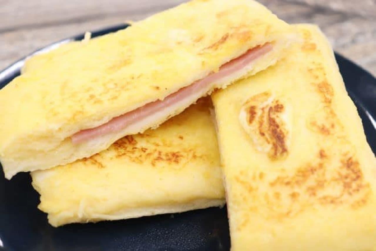 「ランチパック(ハムマヨネーズ)」を使ったフレンチトースト