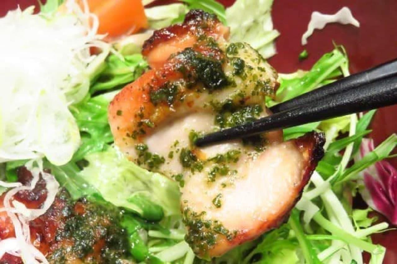 大戸屋「彩り野菜と炭火焼きバジルチキン定食」