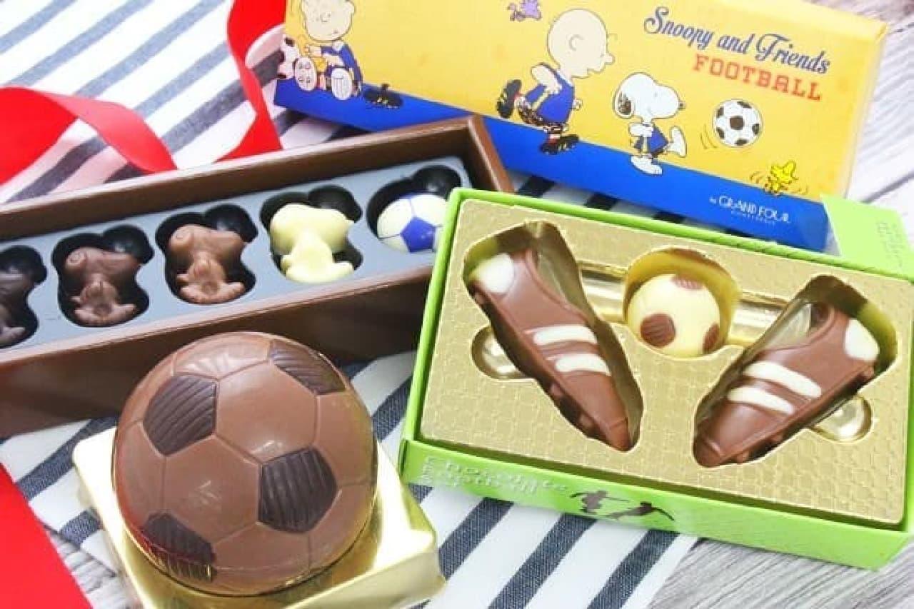 Baur フットボール ギフトチョコ、フットボールセット チョコレート、スヌーピー PEANUTS チョコレート サッカーボックス