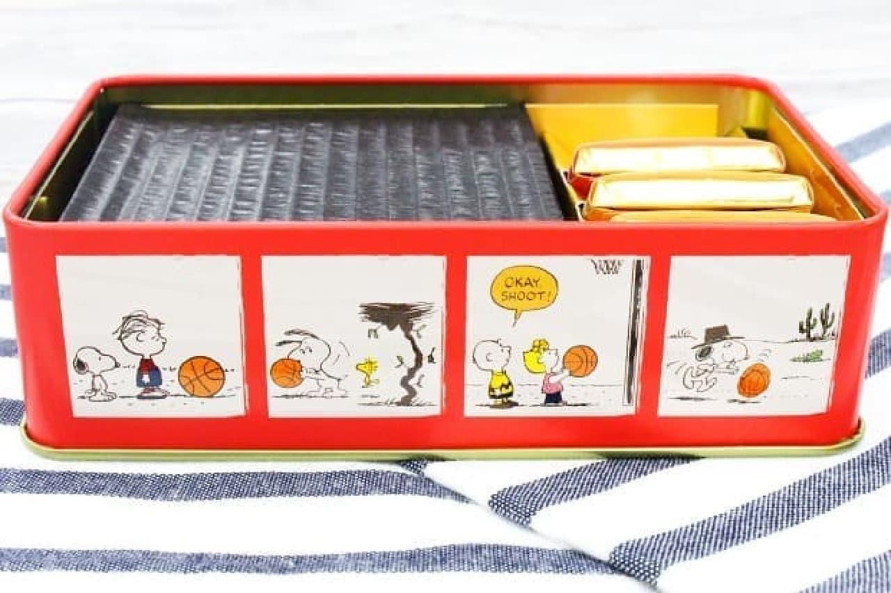 スヌーピー PEANUTS チョコレート バスケットボール缶