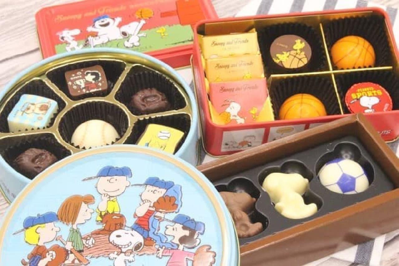 スヌーピー PEANUTS チョコレート ベースボール缶・バスケットボール缶・サッカーボックス