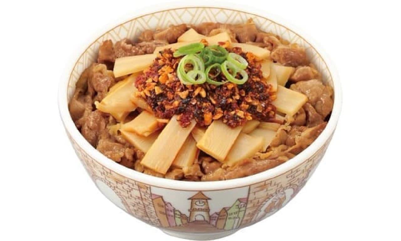 すき家「食べラー・メンマ牛丼」