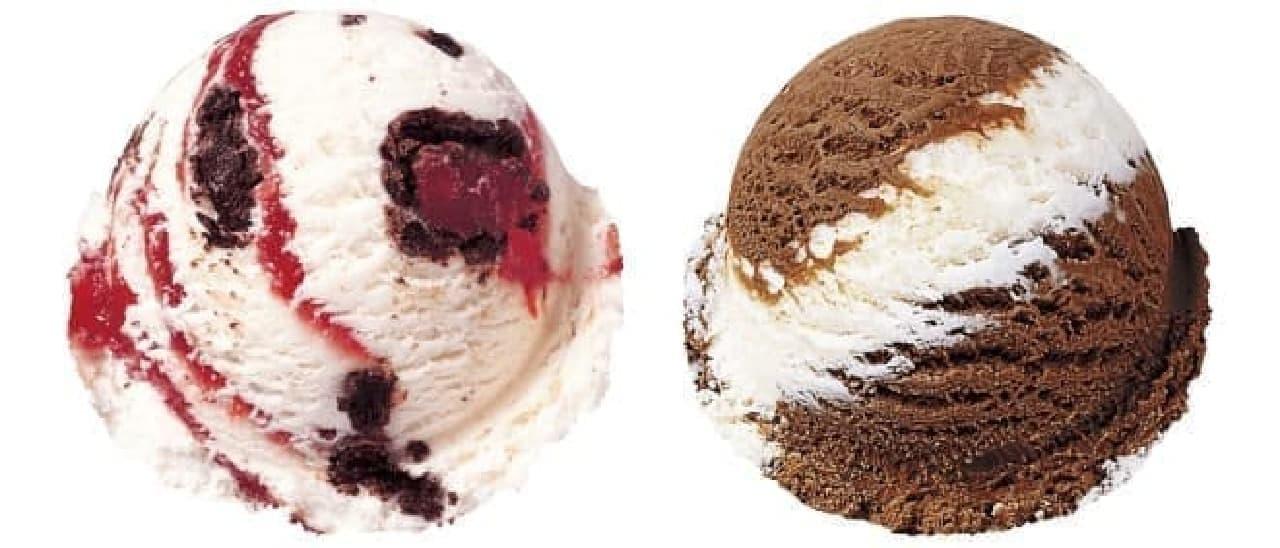 サーティワン アイスクリーム「ウインターホワイトチョコレート」「ワールドクラスチョコレート」