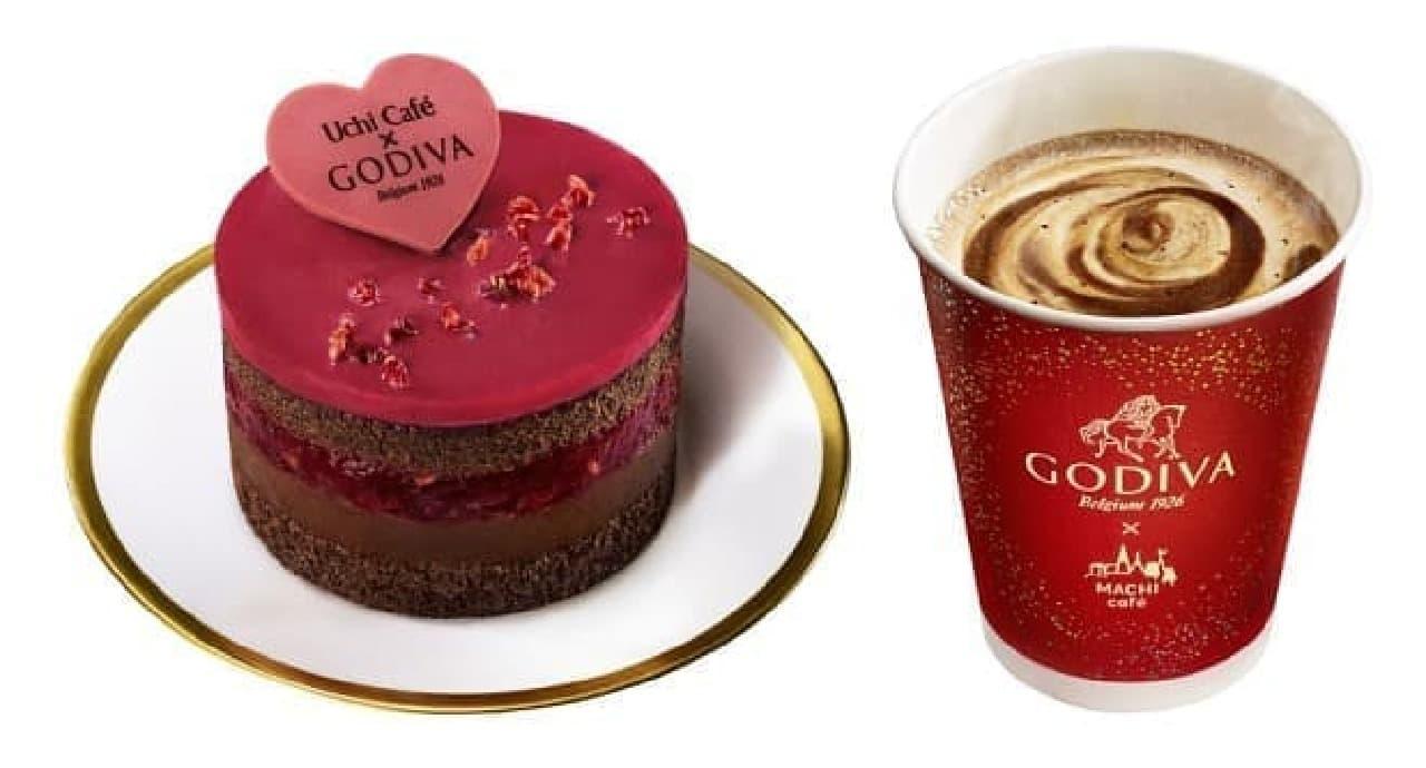 ローソン「Uchi Cafe × GODIVA ショコラケーキ ラズベリー」と「GODIVA × MACHI cafe ショコラカフェ」