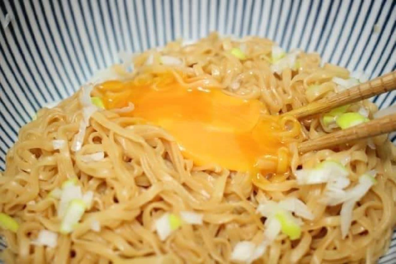 アレンジレシピ「かまたまチキンラーメン」