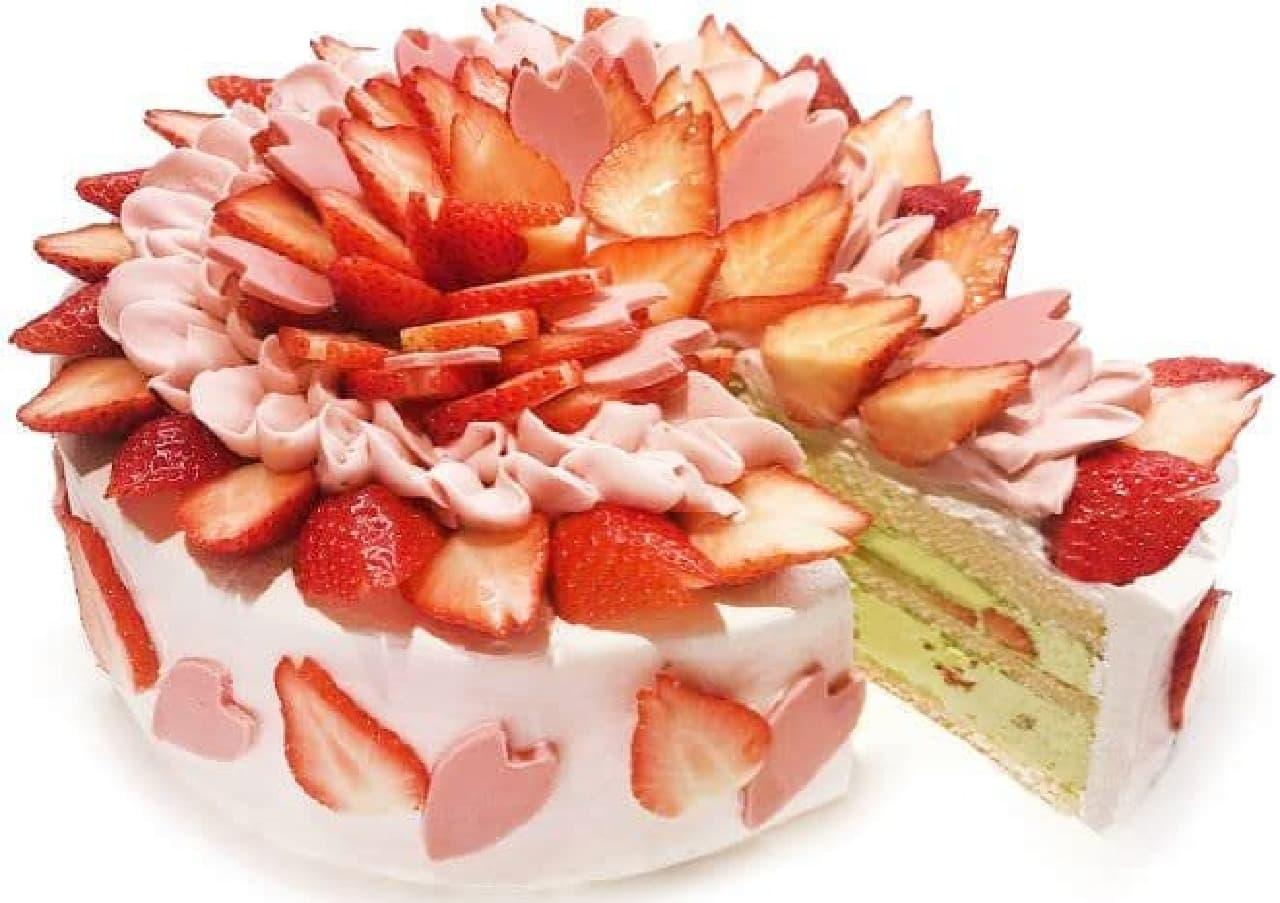 カフェコムサ「いちごと桜のショートケーキ」