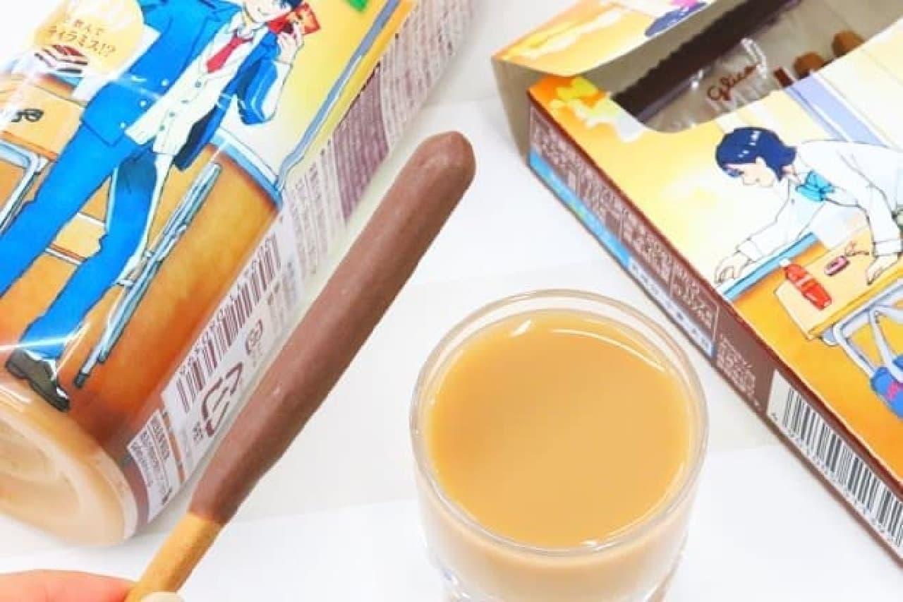 「ポッキー<ほろにがコーヒー&ココア>」と「午後の紅茶 マスカルポーネ薫るチーズミルクティー」