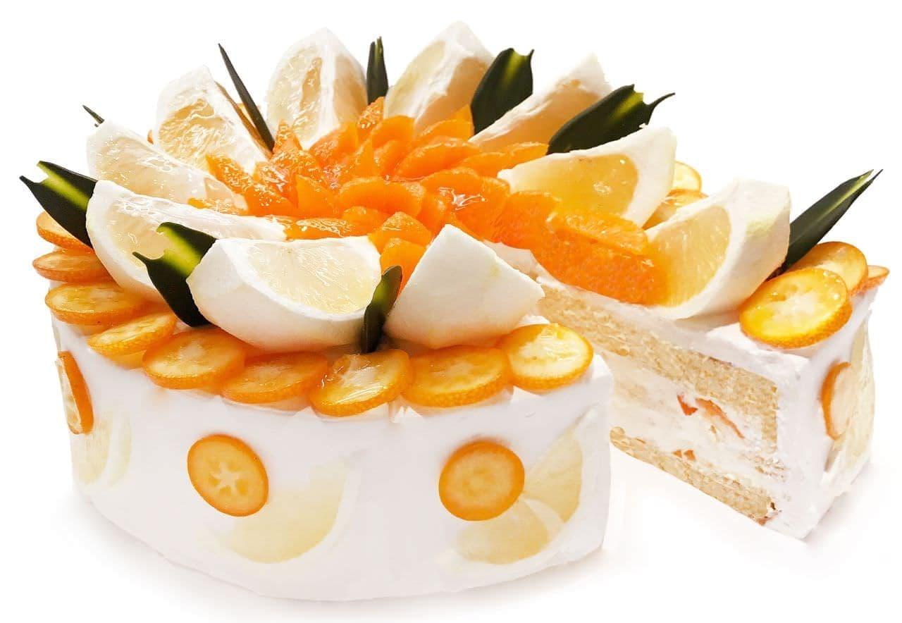 カフェコムサ「3種の柑橘のショートケーキ」