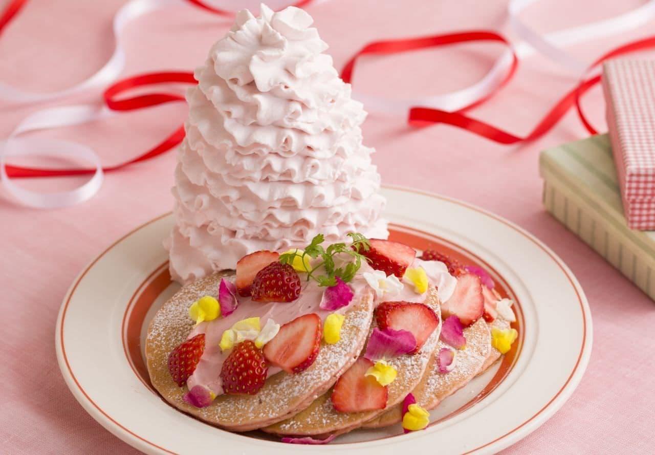エッグスンシングス「いちごと桜ホイップのパンケーキ」