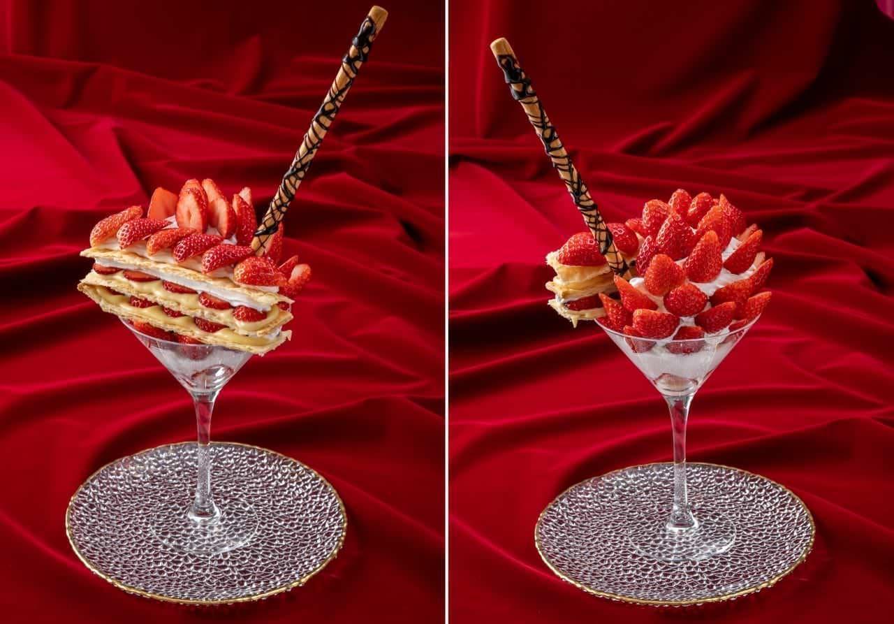 スイーツパラダイス「いちごの夜パフェ(ミルフィーユいちごパフェ)」