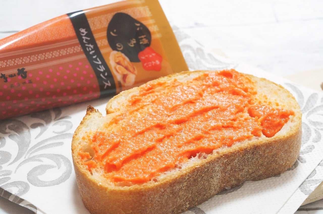 やまや「博多のパン めんたいフランス」を塗ったパン
