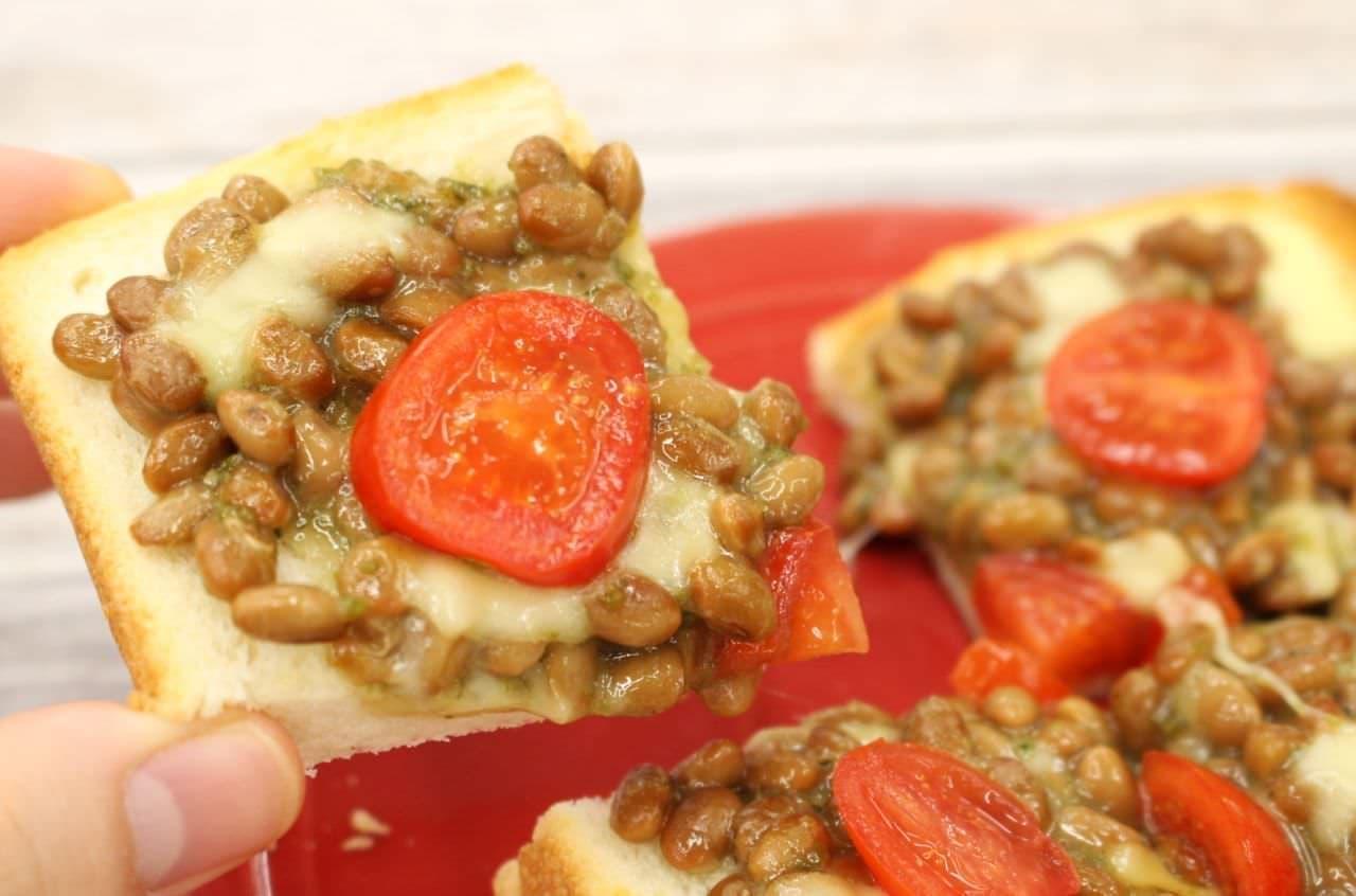 アレンジトースト「納豆バジルチーズ」
