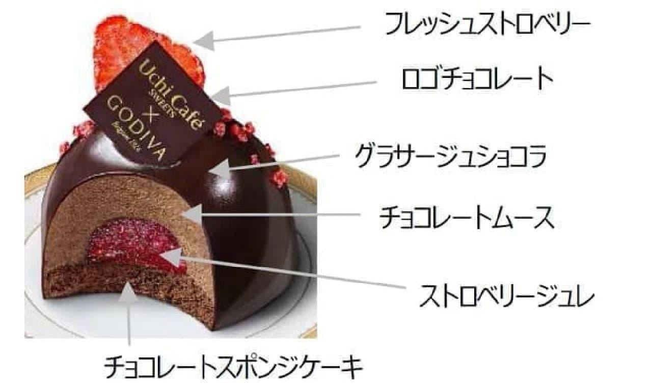 ローソン「Uchi Cafe × GODIVA ショコラドーム ストロベリー」