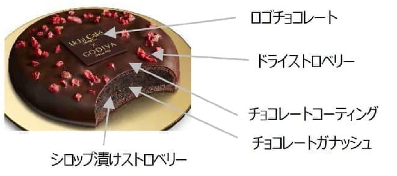 ローソン「Uchi Cafe × GODIVA ベイクドショコラ ストロベリー」