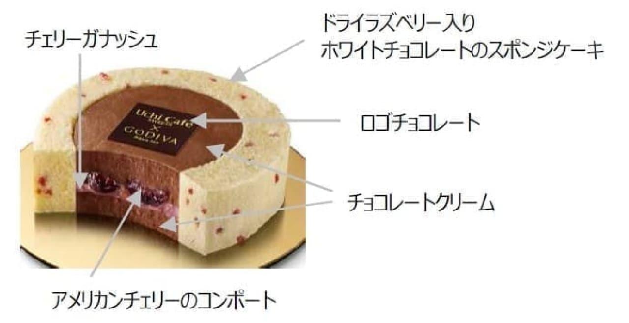 ローソン×ゴディバ新作「チェリーショコラロールケーキ」