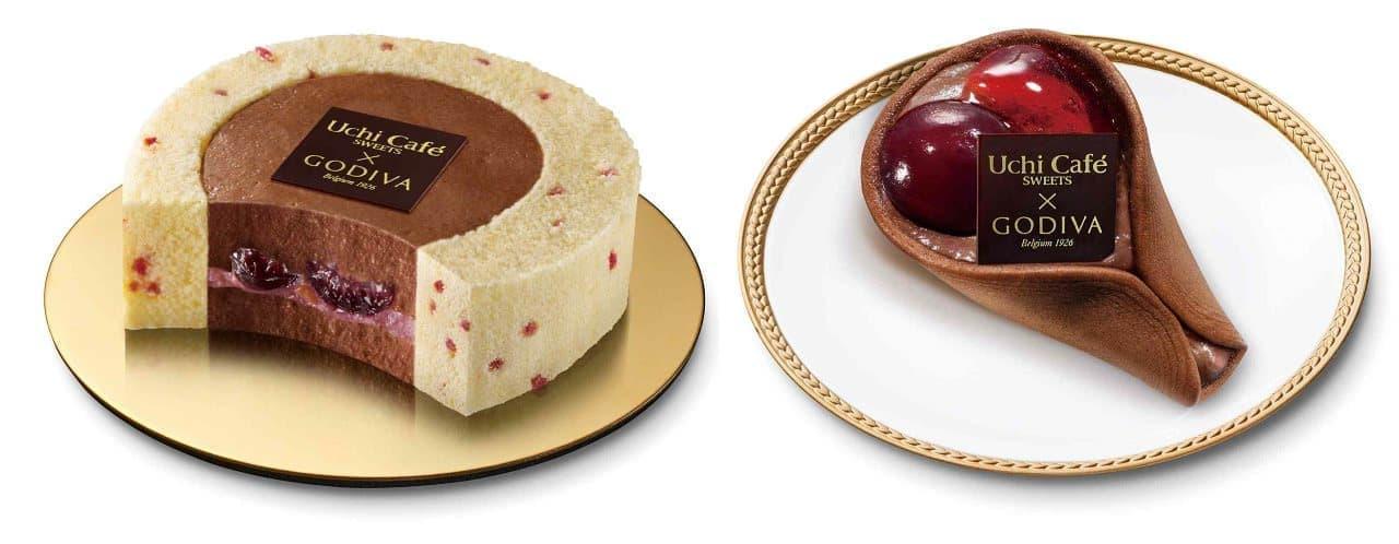 ローソン×ゴディバ新作「チェリーショコラロールケーキ」と「チェリーショコラワッフル」