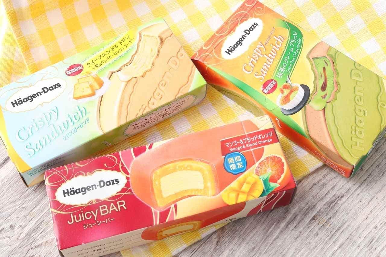 ハーゲンダッツ「抹茶のクレームブリュレ」「ウィークエンドシトロン」「マンゴー&ブラッドオレンジ」