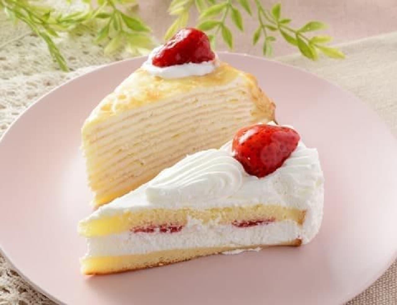 ローソン「苺のショートケーキ&苺ミルクレープ」