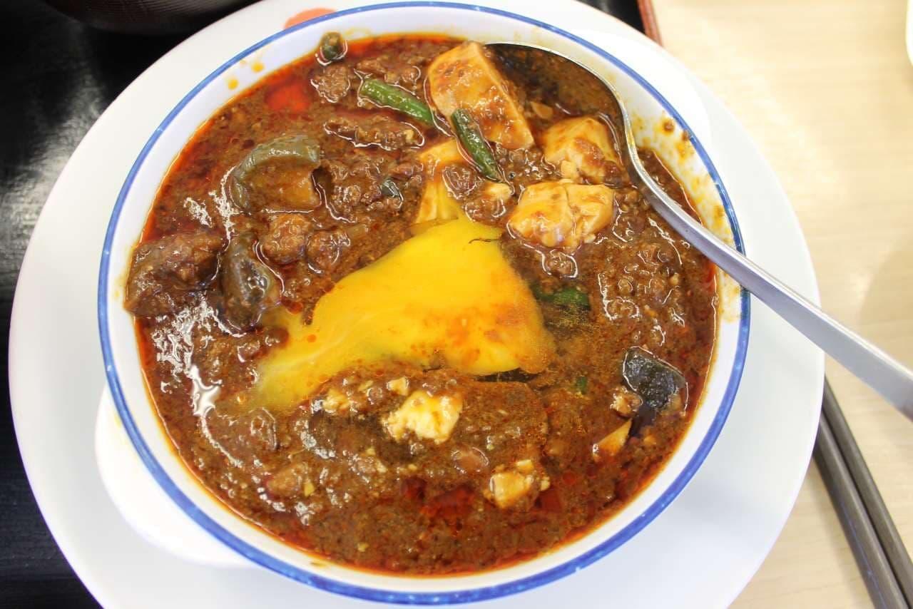 松屋の「玉子で食べる四川風麻婆豆腐定食」