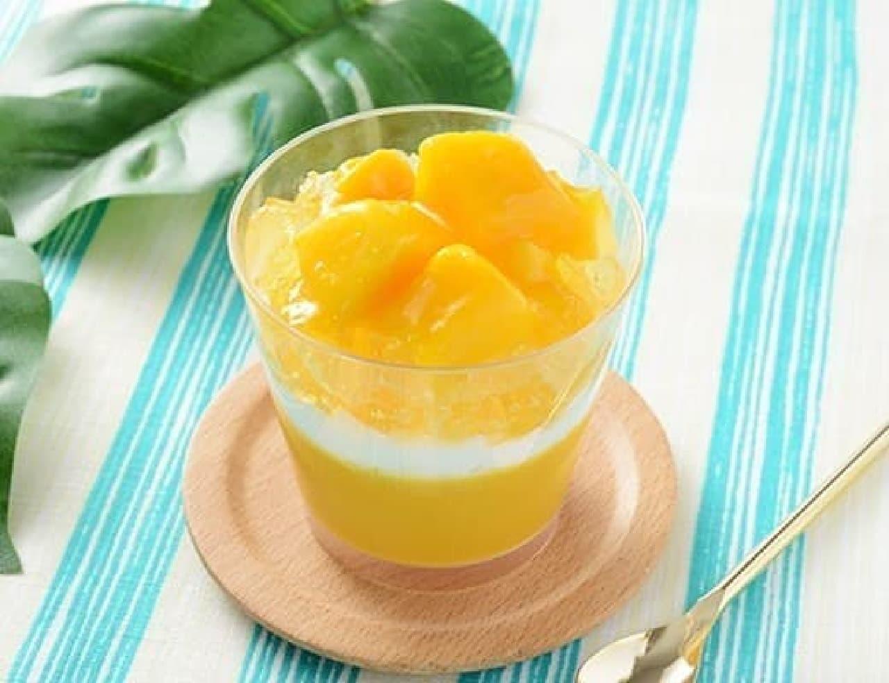 ローソンのマンゴーとパッションフルーツのプリン