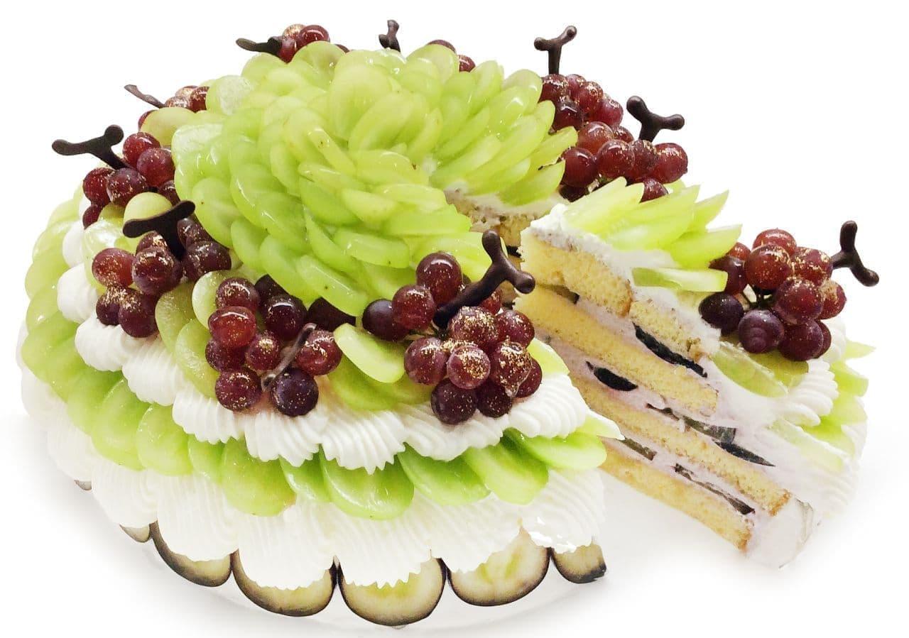 カフェコムサ「3種のぶどうのショートケーキ」