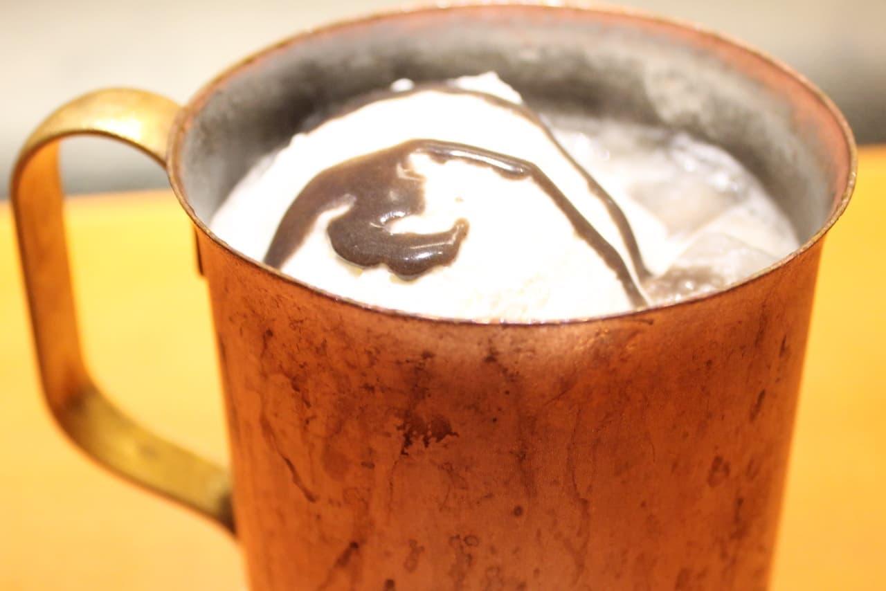 上島珈琲店で「焙じ茶キャラメルミルク珈琲」