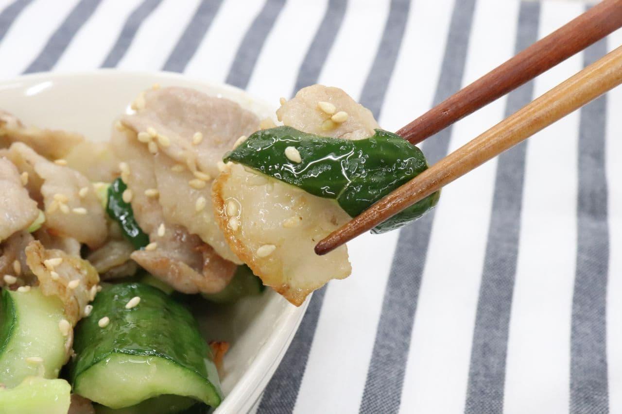 きゅうりレシピ「豚肉ときゅうりの梅炒め」